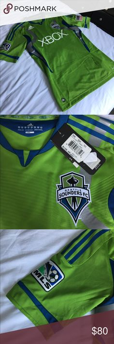 Adidas Sounders Mens Soccer Jersey Brand new with tags!  Mens sounders jersey, never been worn!  No trades, make me an offer! Adidas Shirts Tees - Short Sleeve