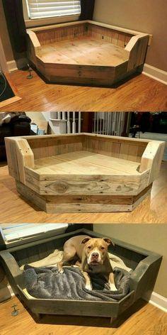 Pet bed for unused corner | Pallet dog beds, Diy dog stuff, Diy pallet  furniture
