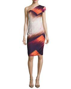 Black halo one shoulder dress