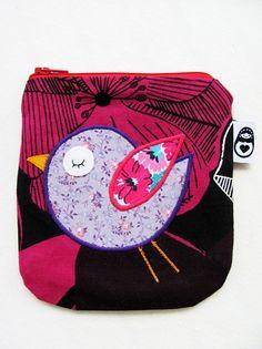 Bird coinpurse www.delfiadesign.com www.facebook.com/Delfiadesign