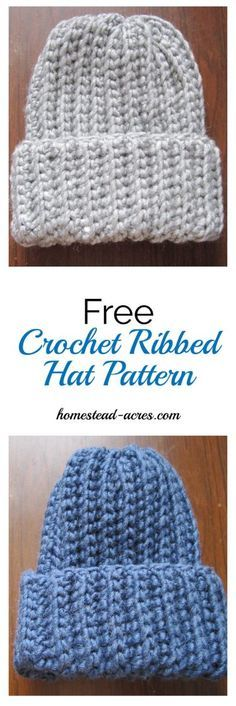 Free Crochet Ribbed Hat Pattern. This is a quick and easy crochet ribbed hat pattern that looks just like ribbed knitting! It's my favourite free crochet hat pattern.   www.homestead-acres.com