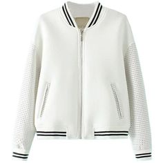 Midfield Long Sleeved Zip Through Jacket (2.060 RUB) ❤ liked on Polyvore featuring outerwear, jackets, coats, white, zip pocket jacket, white jacket, white zip jacket, white zipper jacket and long sleeve jacket