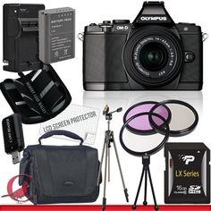 Olympus OM-D E-M5 Micro Four Thirds Digital Camera with 14-42mm Lens (Black) 16GB Package 5 by Olympus. $1109.60. Package Contents:  1- Olympus OM-D E-M5 Micro Four Thirds Digital Camera with 14-42mm Lens (Black)  With all supplied accessories 1- 16GB SDHC Class 10 Memory Card 1- Rapid External Ac/Dc Charger Kit   1- USB Memory Card Reader  1- Rechargeable Lithium Ion Replacement Battery  1- Weather Resistant Carrying Case w/Strap  1- Pack of LCD Screen Protectors  ...