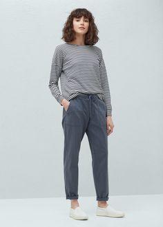 Pocket linen-blend trousers | MANGO