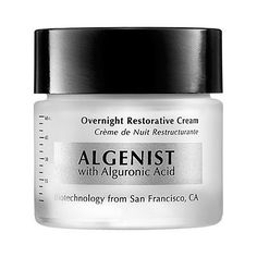 Algenist Overnight Restorative Cream 2 oz by Algenist. $90.00. What it is:A rich, moisturizing cream that renews and repairs the skin overnight.What it is formulated to do:The regenerative power of alguronic acid promotes cell renewal to improve skin structure during the night. Peptides nourish the skin and reduce the appearance of lines and wrinkles. Firmness and elasticity are restored. Skin is left renewed, smoother and more radiant in the morning.What it is...