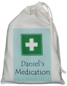 PERSONALISED MEDICATION BAG - SMALL NATURAL COTTON DRAWSTRING BAG first aid AQUA - add any name