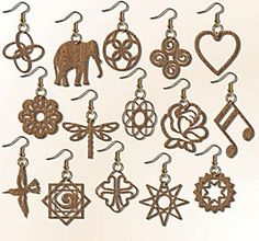 Scroll Saw Patterns :: Handy items :: Jewelry & stands :: Set of 15 Earrings -