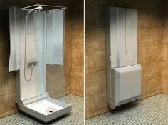 Sorry if we're sci-fi geeking a bit, but this Folding Shower shown above looks straight from The Fifth Element, specifically the scene where Korben Dallas (B. Willis) has to push Leeloo (an unforgettable Milla Jovovich) into a hideaway shower. Designed specifically for small space dwellers, this French designed shower is seeking a manufacturer, so it's not yet on the market, but we think would be perfect for people who decide to convert their spare closets into a bathroom.