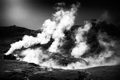 Steaming Iceland black and white Art Print for sale. Hot springs in geothermal area Hengill / Hveragerdi / Reykjadalur.  Available as poster, framed print, metal, acrylic, wood or canvas print. Click through and get inspired! Art for your Home Decor and Interior Design by Matthias Hauser.