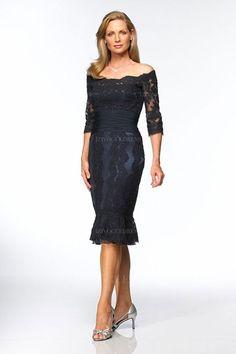 Sheath/Column Off-the-shoulder Tea-length Lace Mother of the Bride Dress