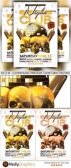 Night Club Flyer Template PSD. Download here: http://graphicriver.net/item/night-club-flyer/16288221?ref=ksioks