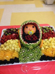 fruit trays for baby shower | The best baby shower fruit tray ever!! | For my sisters..... Aunt El ...
