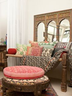 Dreamy Daybeds  Indian-Inspired Patterns and Textures    The combination of different patterns and colors brings life into this spacious bedroom. An Indian-inspired mirror is the ideal backdrop for the guest room daybed, bringing extra light into the space