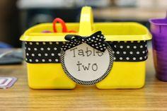 Kindergarten Smiles: Class Supplies ideas that's great for kindergarten Polka Dot Classroom, Disney Classroom, New Classroom, Classroom Setup, Classroom Design, Classroom Supplies, Teacher Organization, Bee Theme, Classroom Inspiration