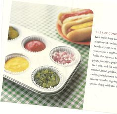 use muffin tin for condiments instead of bulky containers when picnicking with children (or/and adults)