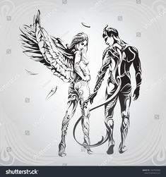 Angel and demon in a floral ornament Demon Drawings, Dark Art Drawings, Tattoo Drawings, Angel Demon, Angel And Devil, Kunst Tattoos, Bild Tattoos, Angel Artwork, Devil Tattoo
