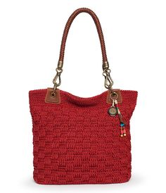 Bennett Crochet Tote, Red Static