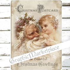 Santa Claus Baby Christmas Postcard Large Image by GraphicMarketplace
