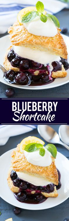 Blueberry Shortcake - This recipe for blueberry shortcake is vanilla ice cream and homemade blueberry sauce sandwiched between lemon shortcake and finished off with whipped cream. This easy and elegant dessert is perfect for any occasion!