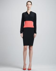 St. John - Shop Online - Resort 2014 First Look - Long-Sleeve Milano Colorblock Dress, Caviar/Hibiscus