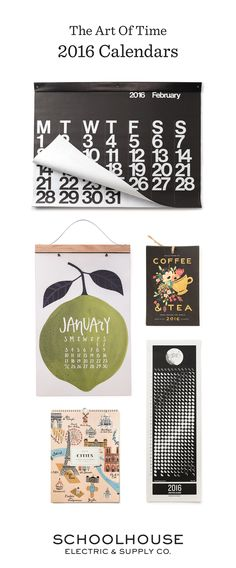 A new work of art each month | Shop 2016 calendars from Schoolhouse Electric & Supply Co.