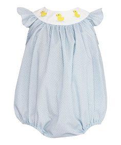 f6434e795619 Loving this Light Blue  amp  White Dot Duck Bubble Romper - Infant on   zulily