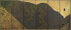 Ivy vines, bridges and floating fans; one of a pair with F1902.102  early 17th century    Tawaraya Sotatsu , (Japanese, fl. ca. 1600-1643)   Momoyama or Edo period     Ink, color, gold, and silver on paper  H: 170.0 W: 381.5 cm   Japan