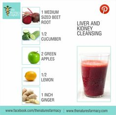 LIVER & KIDNEY CLEANSING  Feeling fatigue? Time to get a little cleansing with beetroot. Beetroot is very detoxifying, so consume one small-medium sized beetroot only once or twice a week.  HEALTH BENEFITS OF THIS COMBO: - Liver and kidney cleansing - Blood-building - Reduces blood acidity - Lowers high blood pressure - Prevents hardening of arteries - Anti-ageing, anti-cancer  JUICE RECIPE: - 1 medium-sized beetroot - ½ cucumber - 2 green apples - ½ lemon - 1-inch ginger root