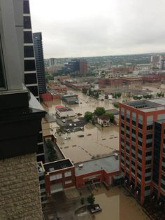 Calgary Flood June 2013 June 21 - Looking N towards Municipal Building Bragg Creek, Banff, Is 11, Calgary, Paris Skyline, Community, River, City, Building