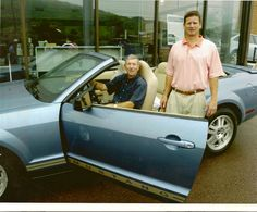 Father and Son...Jack and Bob Metzer in a mustang convertable