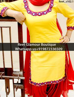 Dashing Yellow And Red Mirror Embroidered Punjabi Suit Product Code…