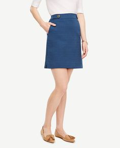 11a9c96f60 Image of Petite Textured Button Tab Skirt Blue Tops, Workwear Fashion, Ann  Taylor,