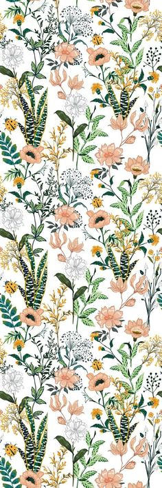 Removable Wallpaper Self Adhesive Wallpaper Beautiful Floral Mix Peel & Stick Wallpaper Eclectic Wallpaper, Retro Wallpaper, Bathroom Wallpaper, Geometric Wallpaper, Wallpaper Roll, Peel And Stick Wallpaper, Pattern Wallpaper, Wallpaper Backgrounds, Summer Wallpaper