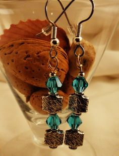 Silver  Blue Swarosvki earrings