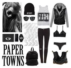 """Paper Towns : Margo Roth Spiegelman"" by smartiesandparties ❤ liked on Polyvore featuring Pull&Bear, Dr. Martens, Monki, Calvin Klein, Officine Creative, Kenzo, NARS Cosmetics and adidas Originals"