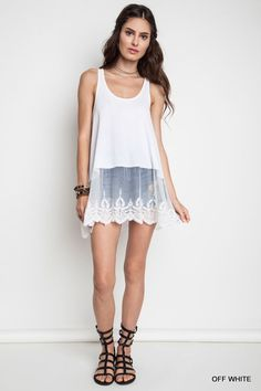 A1068 UMGEE Bohemian Cowgirl Ribbed Tank With Lace Trim Off White #UMGEE #BohemianCowgirl #Casual