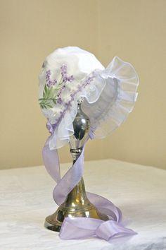 Embroidered Organza and White Silk Easter Bonnet-- Baby bonnet. Photo prop. Silk baby bonnet. Heirloom bonnet. Infant. newborn. shower gift