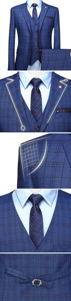 US$135.88 (46% OFF) Plus Size Blue Wedding Formal Three Pieces British Style Slim Blazers for Men