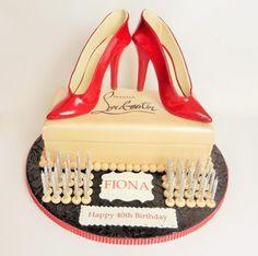 Red Patent Christian Louboutin High Heel Shoe Cake - Cake by Designerart Cakes