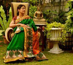 Uppada silk and Brass Buddha
