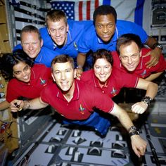 Columbia Space Shuttle flight crew from that shuttle's final mission. The entire flight crew died in 2002 when the shuttle burned up upon reentering the Earth's atmosphere. Never forget.