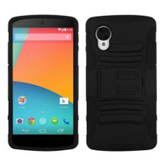 For LG Nexus 5 D820 Tank Armor Hybrid Rubber Hard Case Cover w/Stand Black/Black