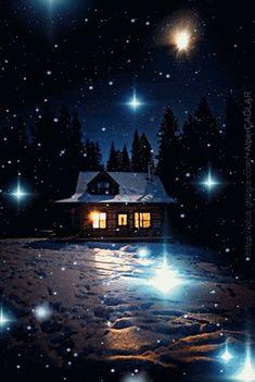 Good Night Gif, Good Night Image, Christmas Scenes, Christmas Pictures, Beautiful Gif, Beautiful Pictures, Gif Bonito, Night Sky Painting, Winter Magic