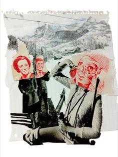 """Relaciones familiares. (IV) """"La cazadora"""" Ilustración, técnica collage + lápiz de color. Tamaño 32x24 cm. // Puedes ver más del proceso en mi INSTAGRAM."""