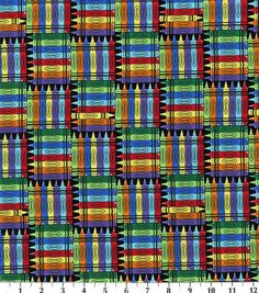 Novelty Cotton Fabric-Back To School Crayons, , hi-res Nice for the school room