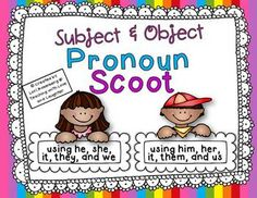 Task Cards or Scoot Bundle Pack: Pronouns Edition Activity Centers, Literacy Centers, English Pronouns, Art Intervention, Object Pronouns, Class Games, Classroom Games, Task Cards, Education