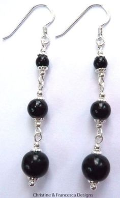 Classic & stylish black glass pearls in a lovely design ♥ .925 Sterling Silver BLACK Glass Pearl Long Drop Earrings + Gift Box & Organza Gift Bag ~ by Christine & Francesca Designs