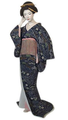 Japanese beauty reinstating hairstyle, Japanese Hakata clay doll. The Japonic Online Kimono and Fine Art Store
