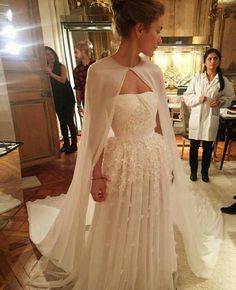 Wedding dress perfection with a dreamy cape by Giambattista Valli via @claire_fivestory