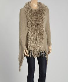 Another great find on #zulily! Gray Fringe Ruffle Poncho by The Magic Scarf Company #zulilyfinds